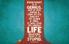 "Framed Print - Albert Einstein Word Art ""Everybody is a GENIUS"" (Picture Poster)"