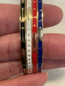 Stunning 18k Yellow Gold Enamel Bangle Bracelets set of 4 Foundrae