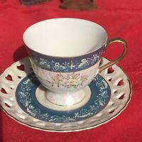 VINTAGE TEA CUP AND SAUCER HAND PAINTED LUSTERWARE Blue Heart Cut Out Trim