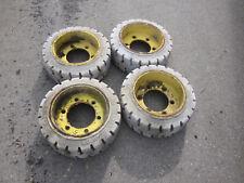 5) 4 Stück helle Reifen / Räder Vollgummi für  Arbeitsbühne, Baumaschine usw.