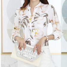 New Women Long Sleeve Floral Print Casual Shirt Chiffon Blouse Top Tee Plus Size