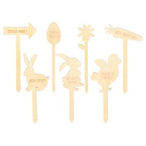 7x Easter Egg Hunt Signs Kids Treasure Hunt Game Decoration 15cm Natural