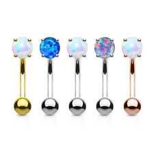 5pc Prong Set Opal Gem Eyebrow Rings Wholesale Lot 316L Surgical Steel 16g