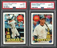 (2) CARD LOT 2018 Topps Heritage #25 AARON JUDGE All-Star Rookie PSA 10 GEM MINT