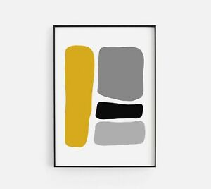 Abstract Hobbled Stones Four Mustard Black Home Wall Art Poster Print Decor Sign