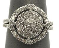 Sterling Silver Geometric Cubic Zirconia CZ Cluster Elegant Round Cocktail Ring