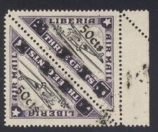 "Liberia 1944-5, 50c overprint on 3c air triangle, PAIR, upright ""X""s $$ #C48A"