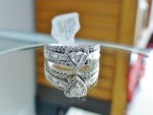 Magic Glo 3/4CT. Heart Cut Diamond Frame Engagement Ring Ladies 14K White Gold