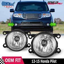 Fits 12-15 Honda Pilot PAIR Factory Bumper Replacement Fog Lights Clear Lens