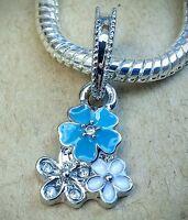 POETIC BLOOMS 3 Flowers TEAL Enamel CZ Crystal European Dangle Bead Charm