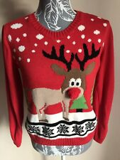 Select Women Christmas Jumper Size 8 Red Reindeer Pattern Long Sleeved