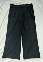 Escada Womens Wool Wide Leg Navy Blue Professional Trousers Career Pants Euro 42