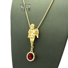 """Hip Hop Pave Micro Baby Angel Ruby Stone Pendant w/ 2mm 24"""" Necklace SPRC1428"""