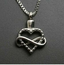 Infinity Loop Around Heart Cremation Jewelry Pendant Memorial Urn Necklace