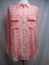 Equipment Femme Blouse Sz S M 100% Silk Boyfriend Fit Animal Print Pink Beige