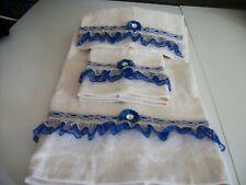3Pc Ivory And Royal Blue Bath Towel Sets