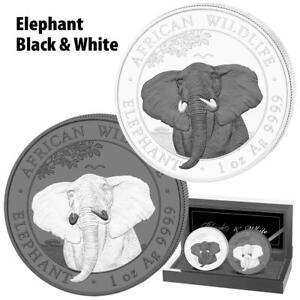 Somalia 2021 - African Wildlife Elefant Black & White Satz - 2 x 1 Oz Silber ST