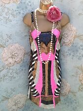 forever unique pink gold sequin bead 20s gatsby club Party evening dress 14 42