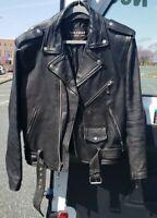 Vintage WILSONS Leather Motorcycle Jacket Mens Belted Leather Biker Coat Large