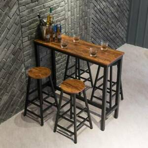 Breakfast Bar Dining Table and 2 High Chairs Stools Kitchen Dining Room Cafe Bar