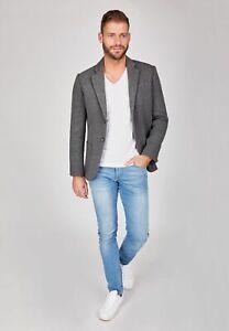 Centered Herren Sakko Designer Jacket 2-Knopf-Sakko sportlich grau Sweatsakko