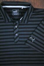 Puma Golf Dry Cell Performance Polo Shirt Black Gray Stripe Men's Xl