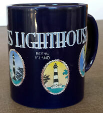 Outer Banks Lighthouses.  Navy Blue Coffee Mug w/ Sketches of 5 Lighthouses.