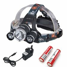 4000 LM 3 x CREE XM-L T6 DEL Focus Phare Lampe Rechargeable Head Torch