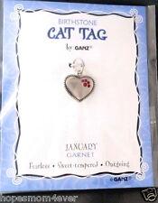 Nip Ganz Birthstone Cat Tag Charm Heart w/ Paw Shape Stones January/Red Bogo 50%