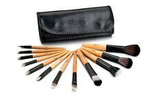 Glow 12 Professional Makeup Brushes Set in Black Leather Design Case