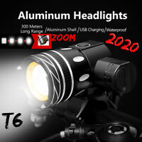 15000LM Bike Zoom Front Rear Light Bicycle LED USB Rechargable Lamp Flashlight