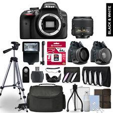 Nikon D3300 Digital SLR Camera 3 Lens Kit + 64GB Multi Accessory Bundle