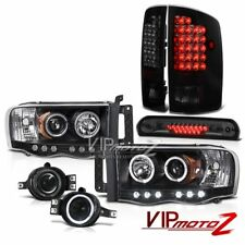 02-05 Ram 2500 Black Halo LED Headlights Tail Lights Foglights Smoke Third Brake
