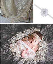 Newborn Baby Beige Lace Cocoon Swaddle Wrap Blanket + Headband Photography Props