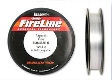 Crystal Fireline Size D .2mm 6LB Braided  Beading Thread 125 yard Spool