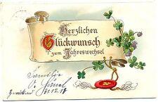 Neujahr, Spruchband, Glücksklee, Prägekarte, 1913