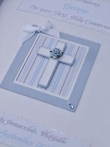 Luxury Personalised Boy's 1st Holy Communion/Baptism/Christening Card, boxed