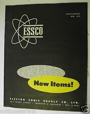 ESSCO NEW ITEMS SUPLEMENT TORONTO WASHINGTON  GARRARD PANASONIC JRIO 1950'S