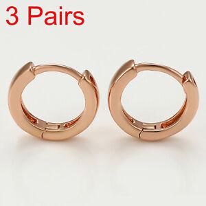 x3 18k Rose Gold plt Huggie Hoop 12mm Sleeper Earrings Non-allergenic AUS MADE