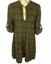 CP Shades M Regina Green Plaid Gauzy Cotton 3/4 Tab Sleeve Tunic Shirt Dress