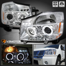 LED Halo Projector Headlights Chrome For 2004-2015 Nissan Titan/2004-2007 Armada