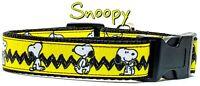 "Snoopy dog collar handmade adjustable buckle collar 1"" or 5/8"" wide or leash"