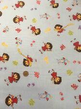 """Dora The Explorer Viacom Blue Purple 100% Cotton quilting craft Fabric 60"""""""