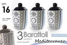 TRIS SET 3 MAXI BARATTOLI H16 CM CERAMICA MEDITERRANEO BLU TORTORA ELA 700965