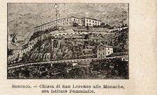 Stampa antica SONDRIO piccola veduta chiesa S.Lorenzo Valtellina 1899 Old print