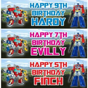 2 Personalised Transformers Style Birthday Banners Childrens Party Poster