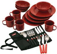 Coleman 24-Piece Enameled Dinnerware Utensils Enamelware Dining Set Stainless