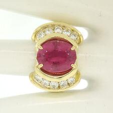 Grande 18ct Oro Amarillo 6.54ct OVALADO Turmalina Rosa & Diamante Redondo