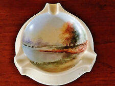 1873-1918 ART NOUVEAU FISHER & MIEG ASHTRAY, HAND PAINTED & ARTIST SIGNED