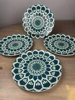 Williams Sonoma Schumacher Bukhara Ikat Dinner Plates GREEN Set of 4